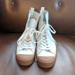 NEW TOPSHOP WHITE LEATHER HIGHTOP size 40